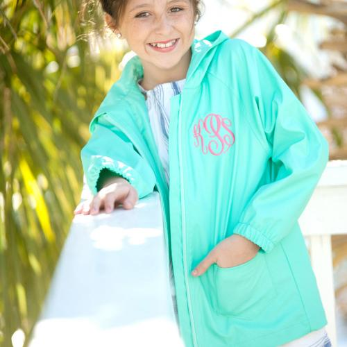Personalized Childs Mint Green Rain Jacket Size Medium  Apparel & Accessories > Clothing > Outerwear > Rain Gear > Raincoats