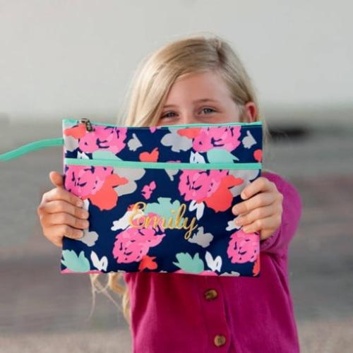Personalized Floral Amelia Zip Pouch Wristlet  Luggage & Bags > Luggage Accessories > Travel Pouches