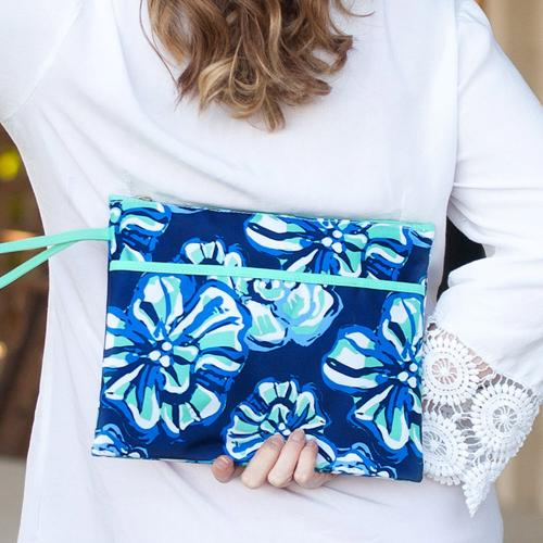 Personalized Maliblue Floral Zip Pouch Wristlet  Luggage & Bags > Luggage Accessories > Travel Pouches