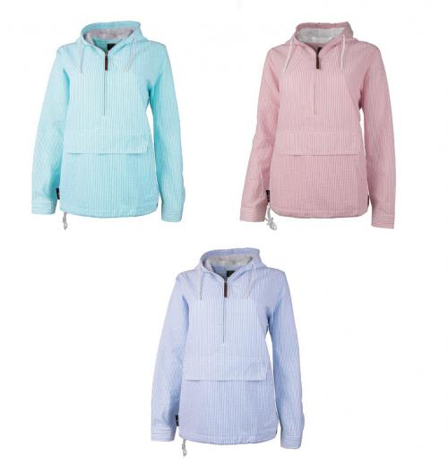 Preppy Seersucker Bar Harbor Pullovers  Apparel & Accessories > Clothing > Activewear > Active Jackets