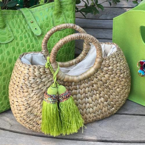 Queen Bea Kala with Lime Green Tassel Basket Queen Bea Kala Tassel Basket Apparel & Accessories > Handbags > Tote Handbags