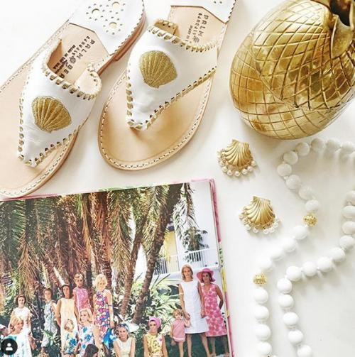 White with Gold Shell Palm Beach Sandals  Apparel & Accessories > Shoes > Sandals > Thongs & Flip-Flops