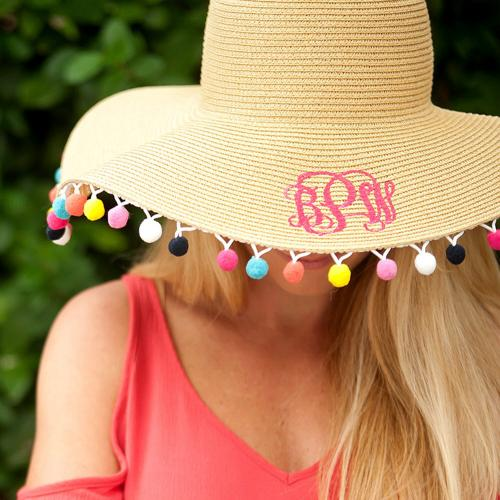 Monogrammed Pom Pom Trim Floppy Hat  Apparel & Accessories > Clothing Accessories > Hats > Sun Hats