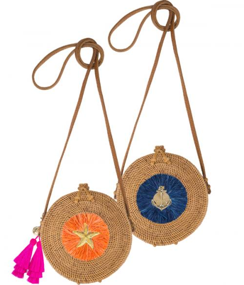 Lucy Canteen Bag with Round Raffia and Adornment  Apparel & Accessories > Handbags > Cross-Body Handbags