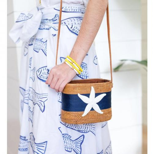 Charlotte Crossbody Bag with Navy & White Adornments  Apparel & Accessories > Handbags > Cross-Body Handbags
