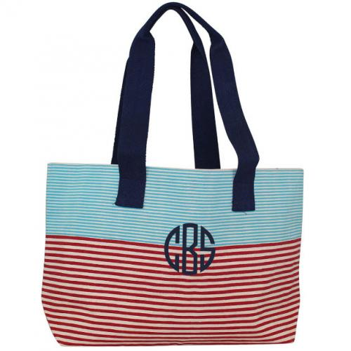Monogrammed Large Beach Tote Stripes  Apparel & Accessories > Handbags > Tote Handbags