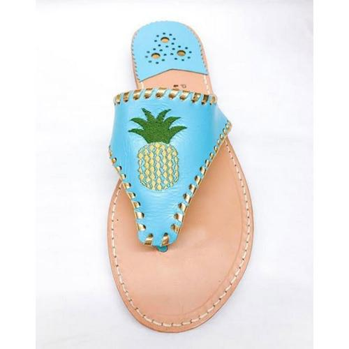 Palm Beach Classic Pineapple Sandals Carribean Blue with Gold  Apparel & Accessories > Shoes > Sandals > Thongs & Flip-Flops