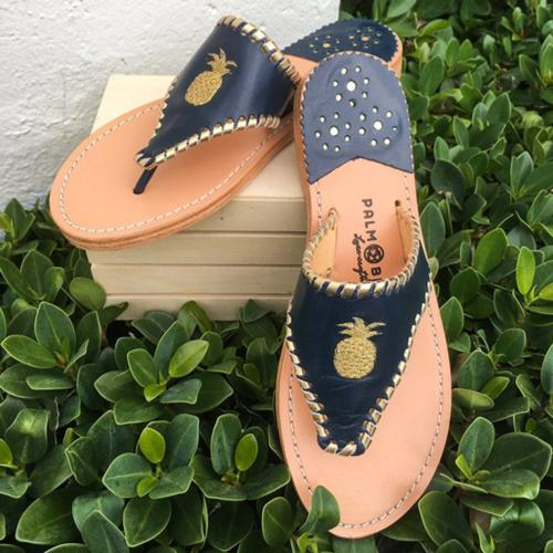 Palm Beach Classic Pineapple Sandals Navy with Gold  Apparel & Accessories > Shoes > Sandals > Thongs & Flip-Flops