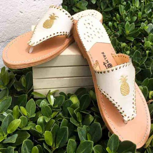 Palm Beach Classic Pineapple Sandals Shell with Gold  Apparel & Accessories > Shoes > Sandals > Thongs & Flip-Flops
