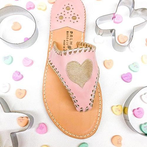 Palm Beach Sandals Gold Heart on Pink  Apparel & Accessories > Shoes > Sandals > Thongs & Flip-Flops