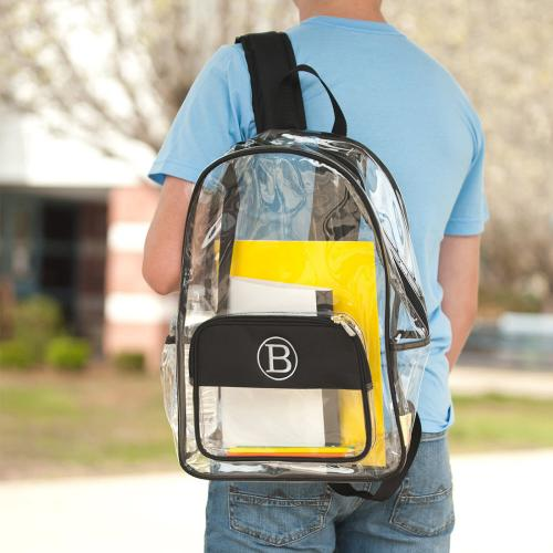 Personalized Clear Black Trim Backpack  Luggage & Bags > Backpacks