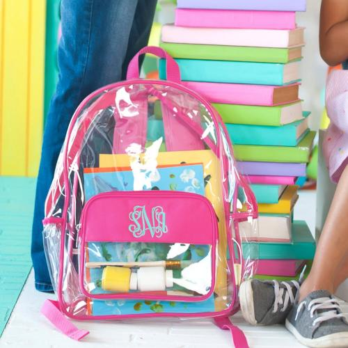 Personalized Clear Hot Pink Trim Backpack  Luggage & Bags > Backpacks