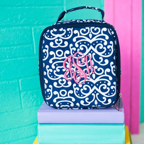 Monogrammed Dani Damask Print Lunch Box  Home & Garden > Kitchen & Dining > Food & Beverage Carriers > Lunch Boxes & Totes
