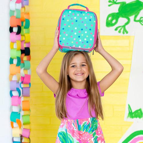 Monogrammed Lottie Dot Print Lunch Box  Home & Garden > Kitchen & Dining > Food & Beverage Carriers > Lunch Boxes & Totes