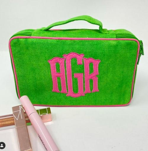 Monogrammed Brush Kit and Cosmetic Bag  Luggage & Bags > Toiletry Bags