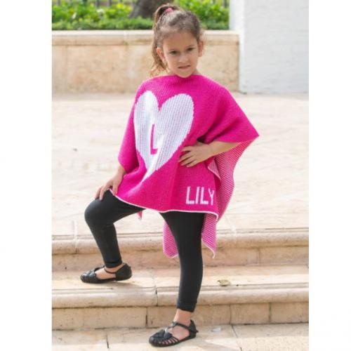 Personalized Hand Knit Kids Single Heart Poncho  Apparel & Accessories > Clothing > Baby & Toddler Clothing > Baby & Toddler Dresses