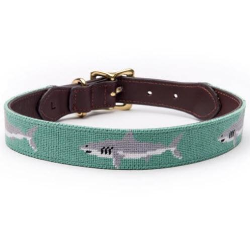 Great White Shark Needlepoint Dog Collar  Animals & Pet Supplies > Pet Supplies > Cat Supplies > Cat Collars & Harnesses
