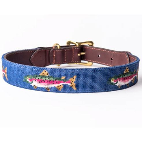 Trout Needlepoint Dog Collar  Animals & Pet Supplies > Pet Supplies > Cat Supplies > Cat Collars & Harnesses