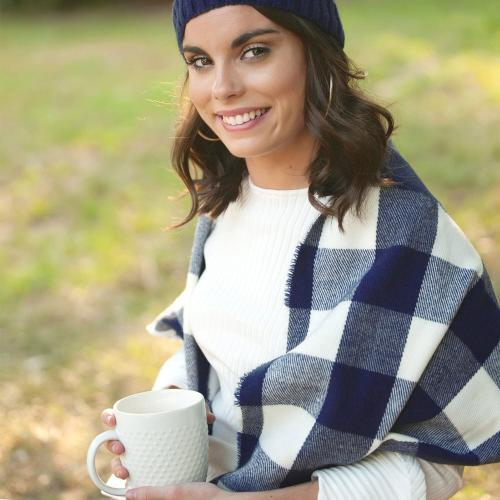 Monogrammed Navy Buffalo Check Wide Scarf  Apparel & Accessories > Clothing Accessories > Scarves & Shawls