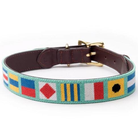 Nautical Flags Needlepoint Dog Collar  Animals & Pet Supplies > Pet Supplies > Cat Supplies > Cat Collars & Harnesses