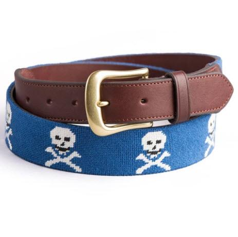 Skull & Bones Needlepoint Belt  Apparel & Accessories > Clothing Accessories > Belts