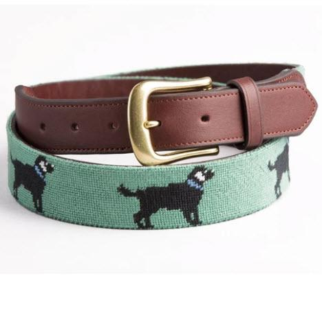 Harding Lane Black Lab Needlepoint Belt  Apparel & Accessories > Clothing Accessories > Belts