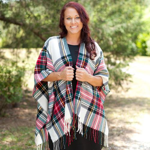 Monogrammed Classic Plaid Kennedy Shawl  Apparel & Accessories > Clothing Accessories > Scarves & Shawls