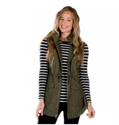 Monogrammed Charles River Bristol Ulitly Vest- Olive or Black  Apparel & Accessories > Clothing > Outerwear > Vests
