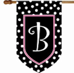 Monogrammed House Flag black and white dots with a hot pink border Black and white dot flag with Pink border single letter Home & Garden > Decor > Flags & Windsocks