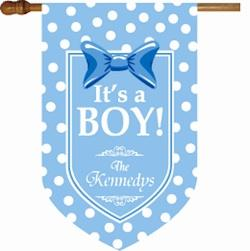 It's A Boy Monogrammed House Flag It's A Boy Flag Home & Garden > Decor > Flags & Windsocks