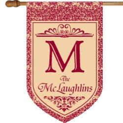 Monogrammed Red Floral House Flag Red Floral Monogrammed Flag Home & Garden > Decor > Flags & Windsocks