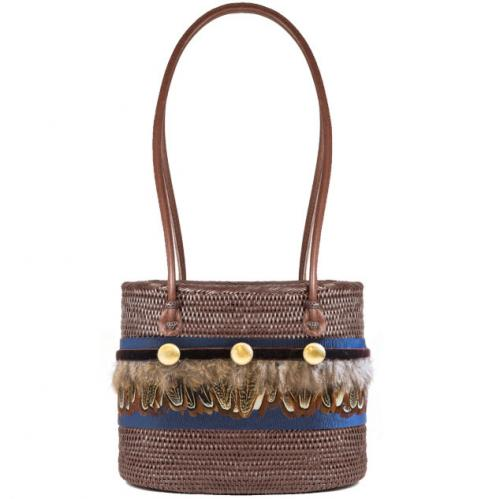 Lisi Lerch Charlotte Medium Bali Bag Feather Band  Apparel & Accessories > Handbags > Shoulder Bags