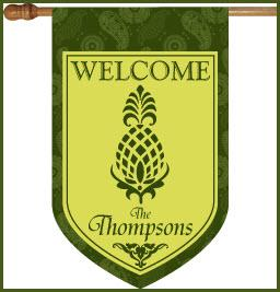 Pineapple and Green Paisley Monogrammed Flag Welcome Pinapple and Green Paisley Flag Home & Garden > Decor > Flags & Windsocks