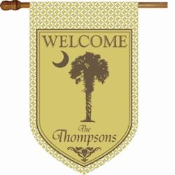 Personalized Pineapple and Khaki Flag Welcome Pineapple and Khaki  Flag Home & Garden > Decor > Flags & Windsocks