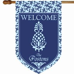 Monogrammed Welcome Pineapple and Blue Flag Welcome Pineapple Blue Flag Home & Garden > Decor > Flags & Windsocks