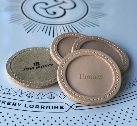 Jon Hart Designs Personalized Leather Coasters  Home & Garden > Kitchen & Dining > Barware > Coasters