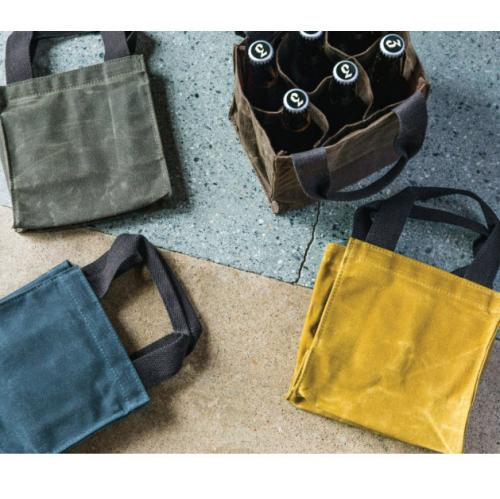 Monogrammed Waxed Canvas Beer Bottle Carrier  Apparel & Accessories > Handbags > Tote Handbags