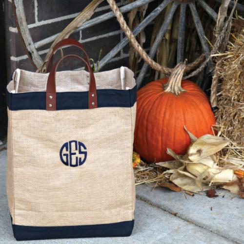 Monogrammed Jute Market Bag  Apparel & Accessories > Handbags > Tote Handbags