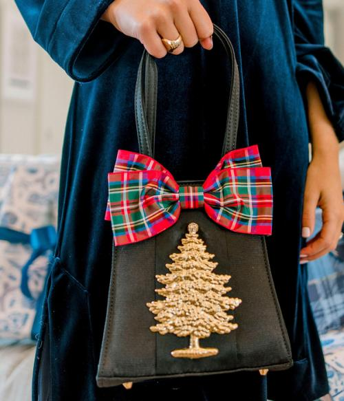Holiday Black Purse with Plaid Bow and Christmas Tree  Apparel & Accessories > Handbags > Clutches & Special Occasion Bags