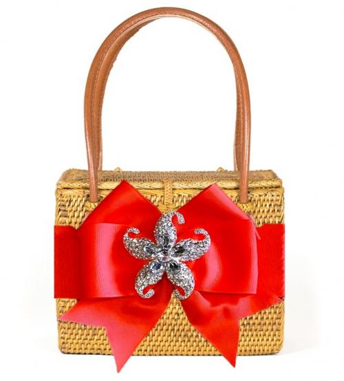 Lisi Lerch Emory Basket with Bow and Rhinstone Adornmnet  Apparel & Accessories > Handbags > Clutches & Special Occasion Bags