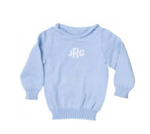 Monogrammed Hand Knit Baby Sweater Up to 4T  Apparel & Accessories > Clothing > Baby & Toddler Clothing > Baby & Toddler Tops