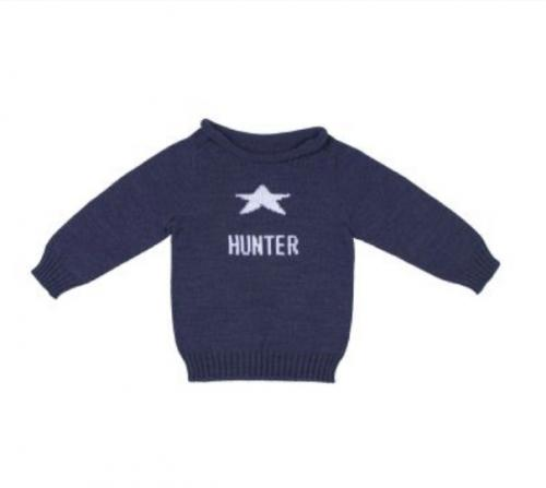 Personalized Kids Hand Knit Star Sweater  Apparel & Accessories > Clothing > Baby & Toddler Clothing > Baby & Toddler Tops