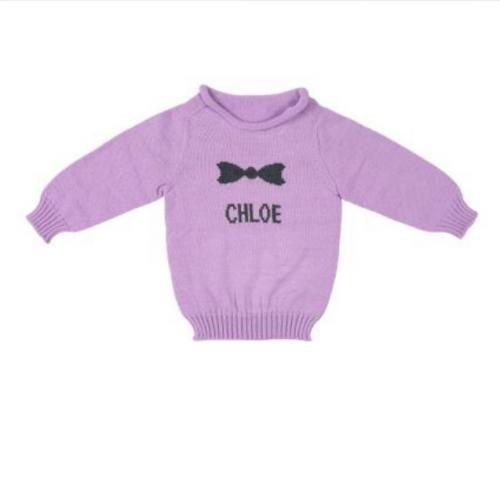 Persoanlized Hand Knit Bow Sweaters for Children  Apparel & Accessories > Clothing > Baby & Toddler Clothing > Baby & Toddler Tops