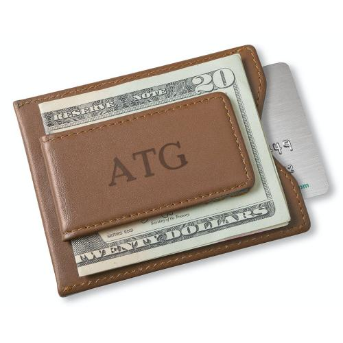 Personalized Brown Leather Magnetic Wallet Money Clip  Apparel & Accessories > Clothing Accessories > Wallets & Money Clips