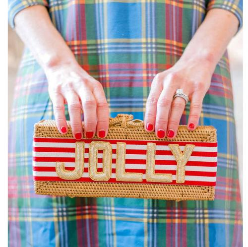 Lisi Lerch Colette Embroidered Red Stripe Ribbon Clutch  Lisi Lerch Colette Embroidered Red Stripe Ribbon Clutch  Apparel & Accessories > Handbags > Clutches & Special Occasion Bags