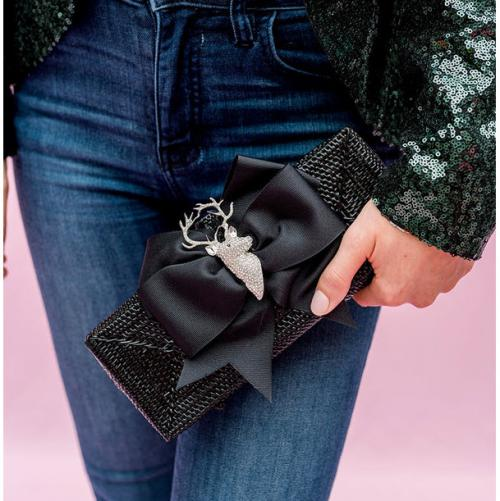 Lisi Lerch Colette Clutch Black Bow Rhinestone Reindeer Lisi Lerch Colette Clutch Black Bow Rhinestone Reindeer Apparel & Accessories > Handbags > Clutches & Special Occasion Bags