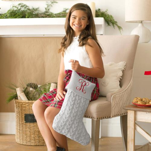 Personalized Grey Cable Knit Stocking  Home & Garden > Decor > Seasonal & Holiday Decorations > Holiday Stockings