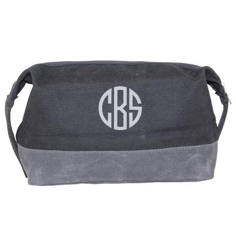 Personalized Waxed Dopp Kit in Black  Luggage & Bags > Toiletry Bags