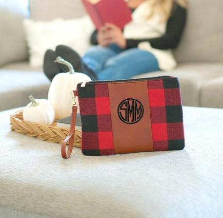 Monogrammed Red Buffalo Check Wristlet  Apparel & Accessories > Handbags > Wristlets