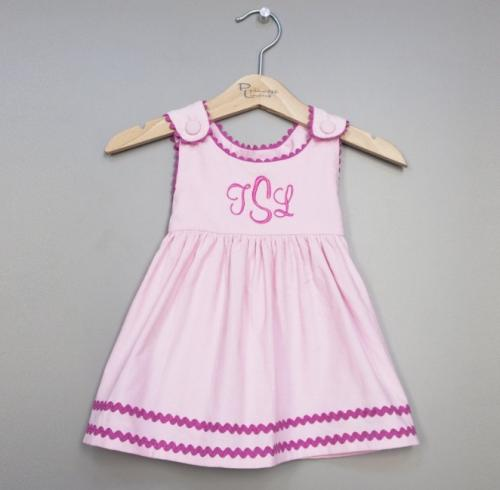 Monogrammed Corduroy Dress Light Pink with Hot Pink Trim  Apparel & Accessories > Clothing > Baby & Toddler Clothing